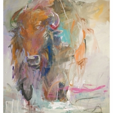 bison on the beach-1, 36x48inch,$3000.00