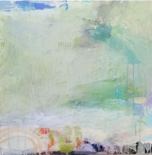 Sweet Rain and Coral Bells / 36x36 in / $2500.00